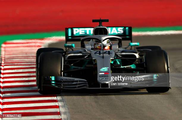Lewis Hamilton of Great Britain driving the Mercedes AMG Petronas F1 Team Mercedes W10 on track during day three of F1 Winter Testing at Circuit de...