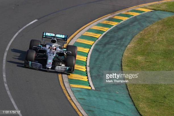 Lewis Hamilton of Great Britain driving the Mercedes AMG Petronas F1 Team Mercedes W10 on track during the F1 Grand Prix of Australia at Melbourne...