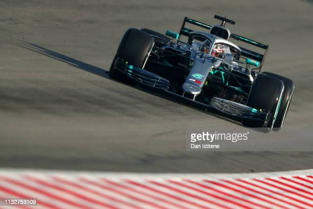 Lewis Hamilton of Great Britain driving the Mercedes AMG Petronas F1 Team Mercedes W10 during day three of F1 Winter Testing at Circuit de Catalunya...