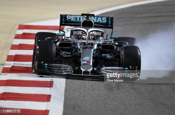 Lewis Hamilton of Great Britain driving the Mercedes AMG Petronas F1 Team Mercedes W10 on track during the F1 Grand Prix of Bahrain at Bahrain...