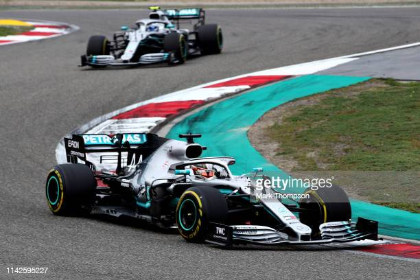 Lewis Hamilton of Great Britain driving the Mercedes AMG Petronas F1 Team Mercedes W10 on track during the F1 Grand Prix of China at Shanghai...