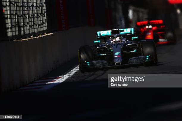 Lewis Hamilton of Great Britain driving the Mercedes AMG Petronas F1 Team Mercedes W10 on track during the F1 Grand Prix of Azerbaijan at Baku City...