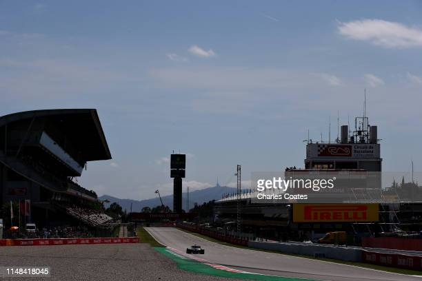 Lewis Hamilton of Great Britain driving the Mercedes AMG Petronas F1 Team Mercedes W10 on track during qualifying for the F1 Grand Prix of Spain at...