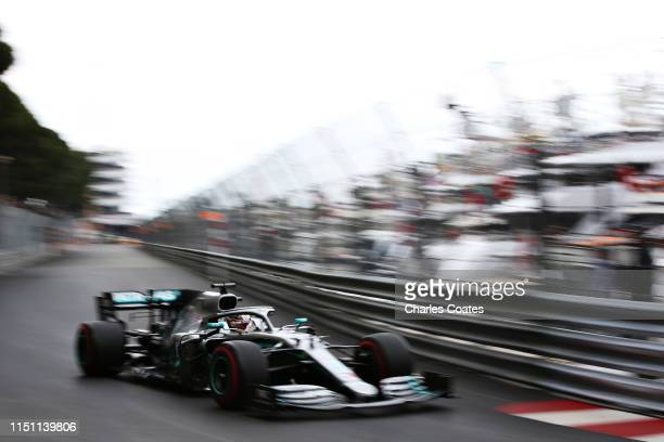 Lewis Hamilton of Great Britain driving the Mercedes AMG Petronas F1 Team Mercedes W10 on track during practice for the F1 Grand Prix of Monaco at...