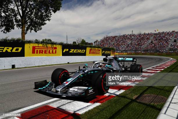 Lewis Hamilton of Great Britain driving the Mercedes AMG Petronas F1 Team Mercedes W10 on track during qualifying for the F1 Grand Prix of Canada at...