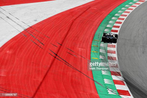 Lewis Hamilton of Great Britain driving the Mercedes AMG Petronas F1 Team Mercedes W10 on track during practice for the F1 Grand Prix of Austria at...