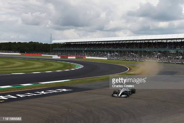 Lewis Hamilton of Great Britain driving the Mercedes AMG Petronas F1 Team Mercedes W10 runs wide during practice for the F1 Grand Prix of Great...