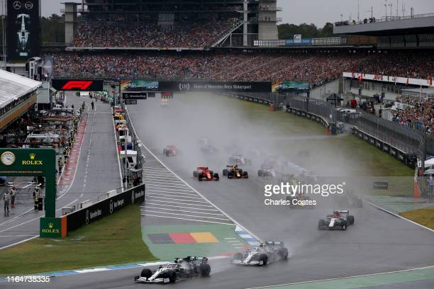 Lewis Hamilton of Great Britain driving the Mercedes AMG Petronas F1 Team Mercedes W10 leads Valtteri Bottas driving the Mercedes AMG Petronas F1...