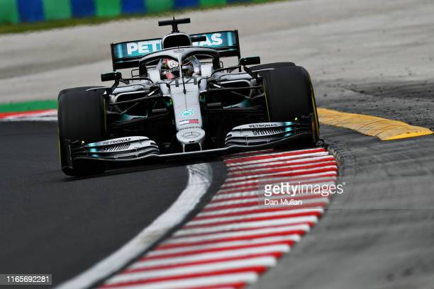 Lewis Hamilton of Great Britain driving the Mercedes AMG Petronas F1 Team Mercedes W10 on track during practice for the F1 Grand Prix of Hungary at...