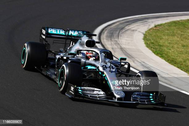 Lewis Hamilton of Great Britain driving the Mercedes AMG Petronas F1 Team Mercedes W10 on track during the F1 Grand Prix of Hungary at Hungaroring on...