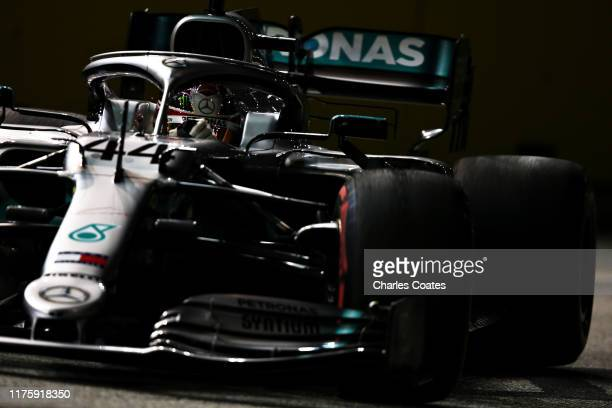 Lewis Hamilton of Great Britain driving the Mercedes AMG Petronas F1 Team Mercedes W10 on track during practice for the F1 Grand Prix of Singapore at...