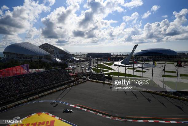 Lewis Hamilton of Great Britain driving the Mercedes AMG Petronas F1 Team Mercedes W10 on track during the F1 Grand Prix of Russia at Sochi Autodrom...