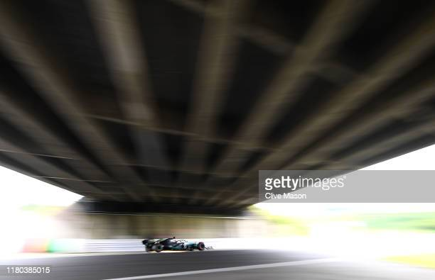 Lewis Hamilton of Great Britain driving the Mercedes AMG Petronas F1 Team Mercedes W10 on track during practice for the F1 Grand Prix of Japan at...