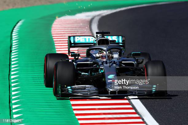 Lewis Hamilton of Great Britain driving the Mercedes AMG Petronas F1 Team Mercedes W10 on track during qualifying for the F1 Grand Prix of Japan at...