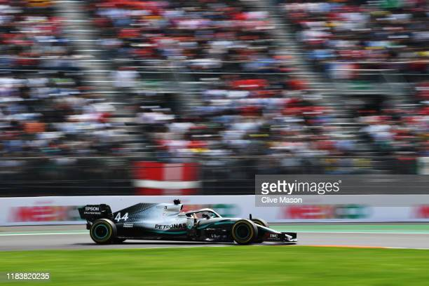 Lewis Hamilton of Great Britain driving the Mercedes AMG Petronas F1 Team Mercedes W10 on track during the F1 Grand Prix of Mexico at Autodromo...