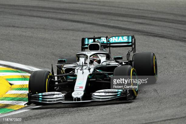 Lewis Hamilton of Great Britain driving the Mercedes AMG Petronas F1 Team Mercedes W10 on track during practice for the F1 Grand Prix of Brazil at...