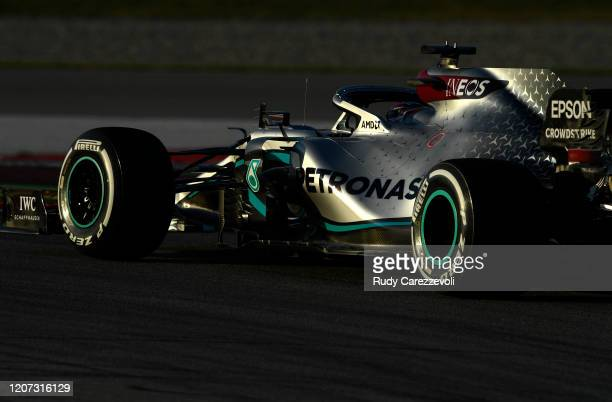Lewis Hamilton of Great Britain driving the Mercedes AMG Petronas F1 Team Mercedes W11 on track during day one of Formula 1 Winter Testing at Circuit...