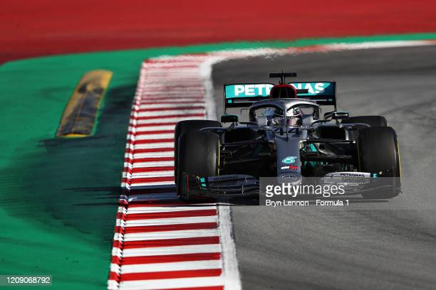 Lewis Hamilton of Great Britain driving the Mercedes AMG Petronas F1 Team Mercedes W11 on track during Day Two of F1 Winter Testing at Circuit de...