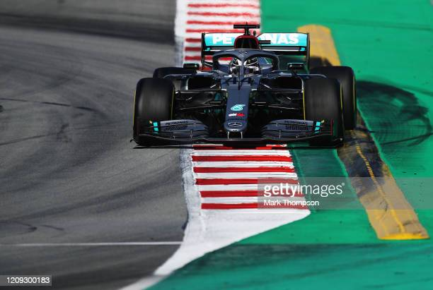 Lewis Hamilton of Great Britain driving the Mercedes AMG Petronas F1 Team Mercedes W11 on track during Day Three of F1 Winter Testing at Circuit de...