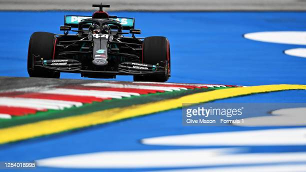 Lewis Hamilton of Great Britain driving the Mercedes AMG Petronas F1 Team Mercedes W11 on track during practice for the F1 Grand Prix of Austria at...