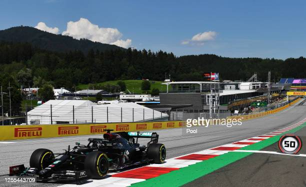 Lewis Hamilton of Great Britain driving the Mercedes AMG Petronas F1 Team Mercedes W11 on track during practice for the F1 Grand Prix of Styria at...
