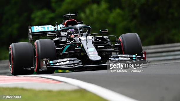 Lewis Hamilton of Great Britain driving the Mercedes AMG Petronas F1 Team Mercedes W11 during final practice for the F1 Grand Prix of Hungary at...