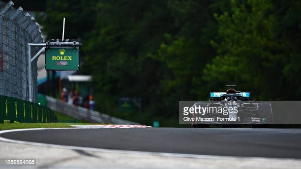 Lewis Hamilton of Great Britain driving the Mercedes AMG Petronas F1 Team Mercedes W11 during qualifying for the F1 Grand Prix of Hungary at...