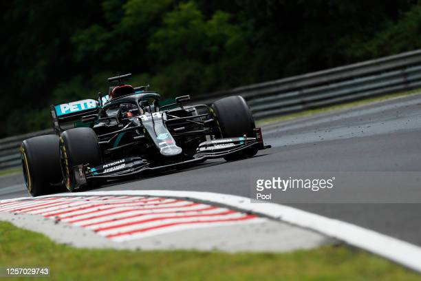 Lewis Hamilton of Great Britain driving the Mercedes AMG Petronas F1 Team Mercedes W11 on track during the Formula One Grand Prix of Hungary at...