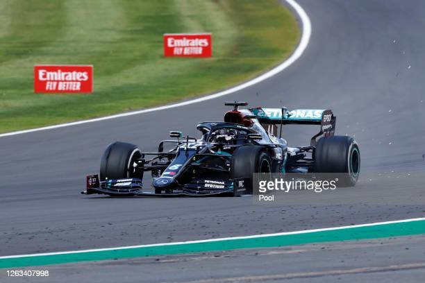 Lewis Hamilton of Great Britain driving the Mercedes AMG Petronas F1 Team Mercedes W11 on the last lap with a puncture during the F1 Grand Prix of...