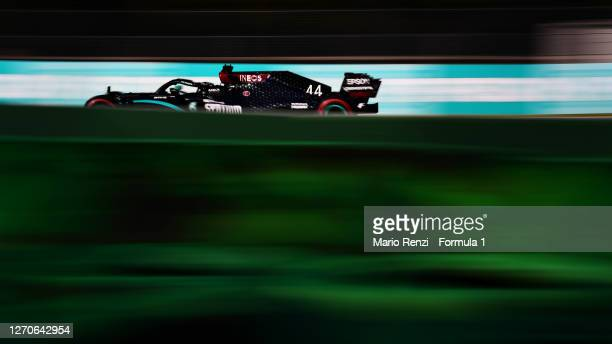 Lewis Hamilton of Great Britain driving the Mercedes AMG Petronas F1 Team Mercedes W11 on track during practice for the F1 Grand Prix of Italy at...