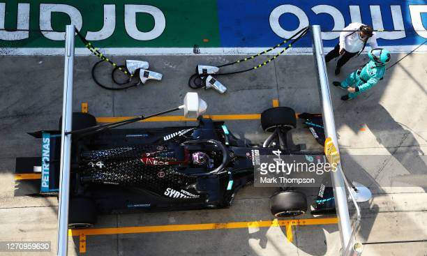 Lewis Hamilton of Great Britain driving the Mercedes AMG Petronas F1 Team Mercedes W11 stops in the Pitlane for a penalty during the F1 Grand Prix of...