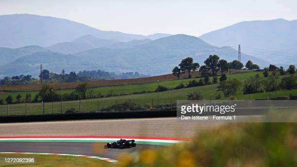 Lewis Hamilton of Great Britain driving the Mercedes AMG Petronas F1 Team Mercedes W11 on track during qualifying for the F1 Grand Prix of Tuscany at...