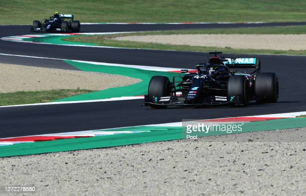 Lewis Hamilton of Great Britain driving the Mercedes AMG Petronas F1 Team Mercedes W11 on track during the F1 Grand Prix of Tuscany at Mugello...