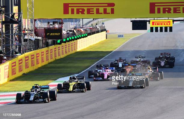 Lewis Hamilton of Great Britain driving the Mercedes AMG Petronas F1 Team Mercedes W11 leads the field following a restart after a red flag during...