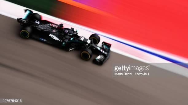 Lewis Hamilton of Great Britain driving the Mercedes AMG Petronas F1 Team Mercedes W11 during qualifying ahead of the F1 Grand Prix of Russia at...