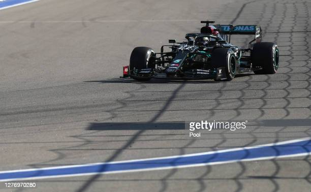 Lewis Hamilton of Great Britain driving the Mercedes AMG Petronas F1 Team Mercedes W11 on track during the F1 Grand Prix of Russia at Sochi Autodrom...
