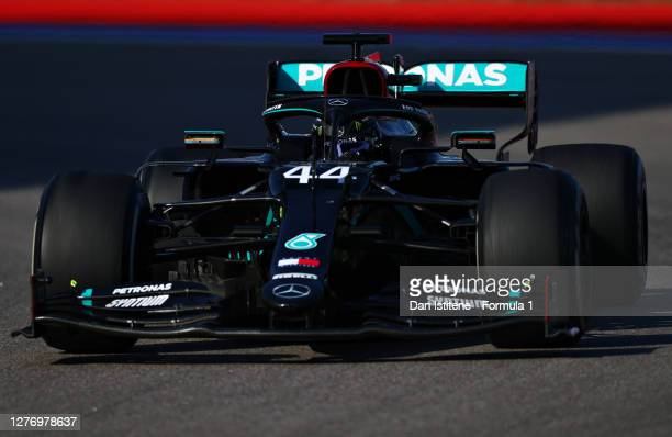 Lewis Hamilton of Great Britain driving the Mercedes AMG Petronas F1 Team Mercedes W11 during the F1 Grand Prix of Russia at Sochi Autodrom on...