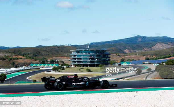 Lewis Hamilton of Great Britain driving the Mercedes AMG Petronas F1 Team Mercedes W11 on track during practice ahead of the F1 Grand Prix of...
