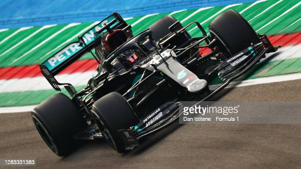 Lewis Hamilton of Great Britain driving the Mercedes AMG Petronas F1 Team Mercedes W11 during the F1 Grand Prix of Emilia Romagna at Autodromo Enzo e...