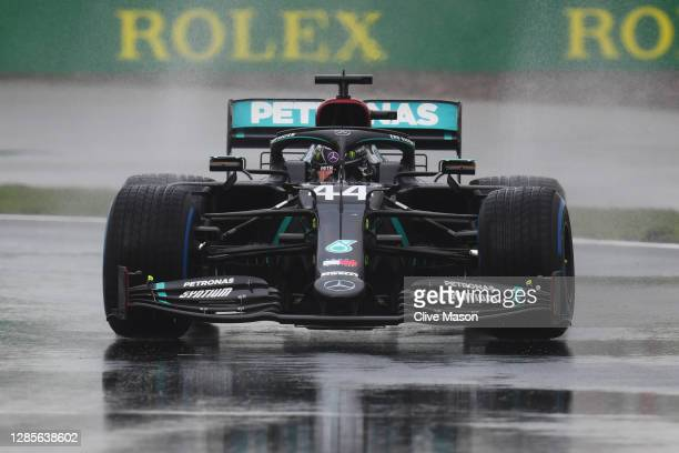 Lewis Hamilton of Great Britain driving the Mercedes AMG Petronas F1 Team Mercedes W11 on track during qualifying ahead of the F1 Grand Prix of...