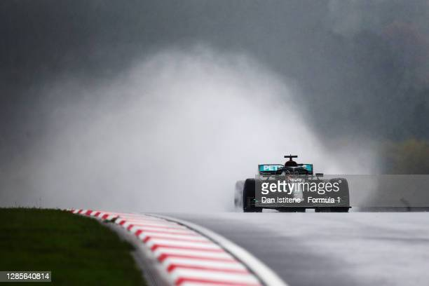 Lewis Hamilton of Great Britain driving the Mercedes AMG Petronas F1 Team Mercedes W11 during final practice ahead of the F1 Grand Prix of Turkey at...