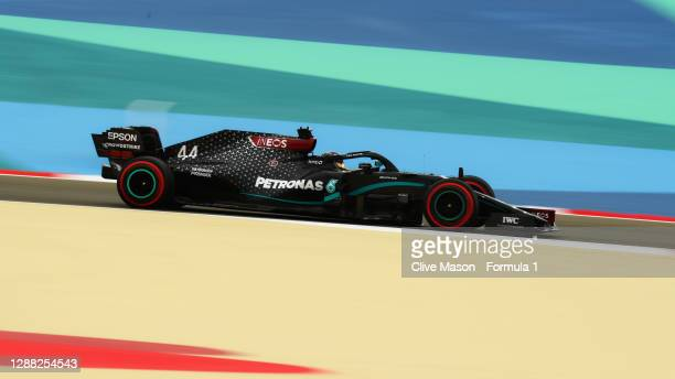 Lewis Hamilton of Great Britain driving the Mercedes AMG Petronas F1 Team Mercedes W11 on track during final practice ahead of the F1 Grand Prix of...