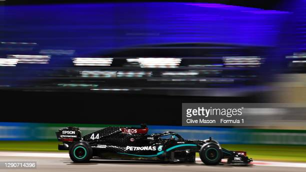 Lewis Hamilton of Great Britain driving the Mercedes AMG Petronas F1 Team Mercedes W11 on track during practice ahead of the F1 Grand Prix of Abu...