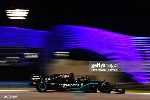 Lewis Hamilton of Great Britain driving the Mercedes AMG Petronas F1 Team Mercedes W11 during practice ahead of the F1 Grand Prix of Abu Dhabi at Yas...