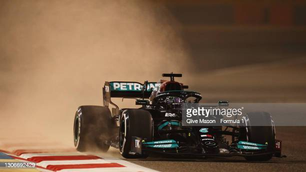 Lewis Hamilton of Great Britain driving the Mercedes AMG Petronas F1 Team Mercedes W12 kicks up sand during Day One of F1 Testing at Bahrain...