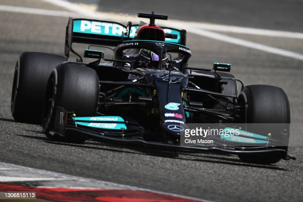 Lewis Hamilton of Great Britain driving the Mercedes AMG Petronas F1 Team Mercedes W12 on track during Day Two of F1 Testing at Bahrain International...