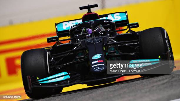 Lewis Hamilton of Great Britain driving the Mercedes AMG Petronas F1 Team Mercedes W12 during Day Two of F1 Testing at Bahrain International Circuit...