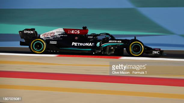 Lewis Hamilton of Great Britain driving the Mercedes AMG Petronas F1 Team Mercedes W12 during Day Three of F1 Testing at Bahrain International...