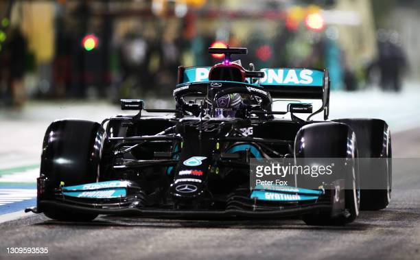 Lewis Hamilton of Great Britain driving the Mercedes AMG Petronas F1 Team Mercedes W12 in the Pitlane during the F1 Grand Prix of Bahrain at Bahrain...
