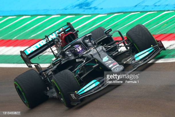 Lewis Hamilton of Great Britain driving the Mercedes AMG Petronas F1 Team Mercedes W12 during the F1 Grand Prix of Emilia Romagna at Autodromo Enzo e...